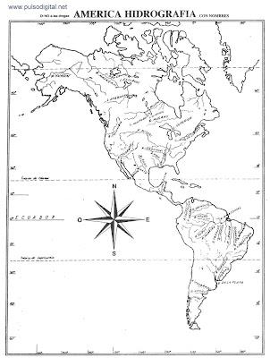 Mapa de la hidrografía de América con nombres