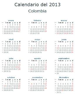 Calendario 2013 Colombia feriados fiestas