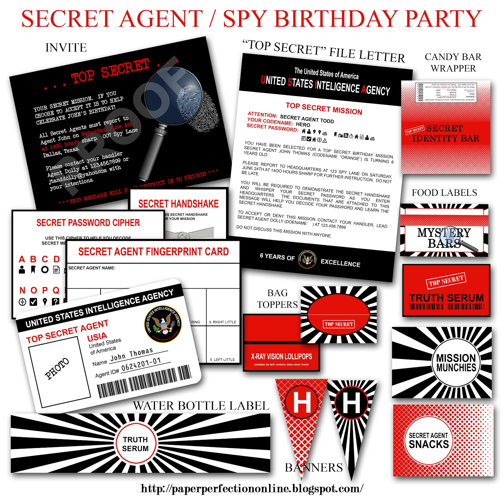 Monster image with spy party invitations printable free