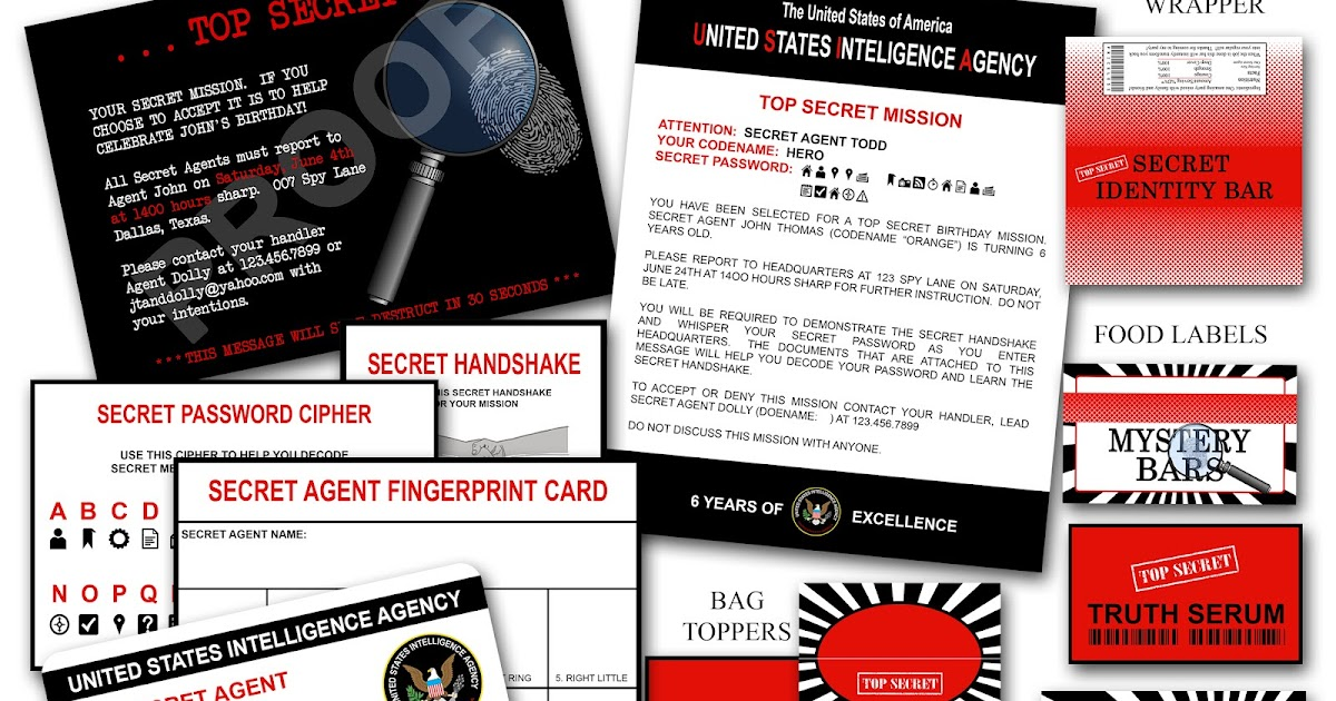 paper perfection  secret agent    spy party invitation and printables