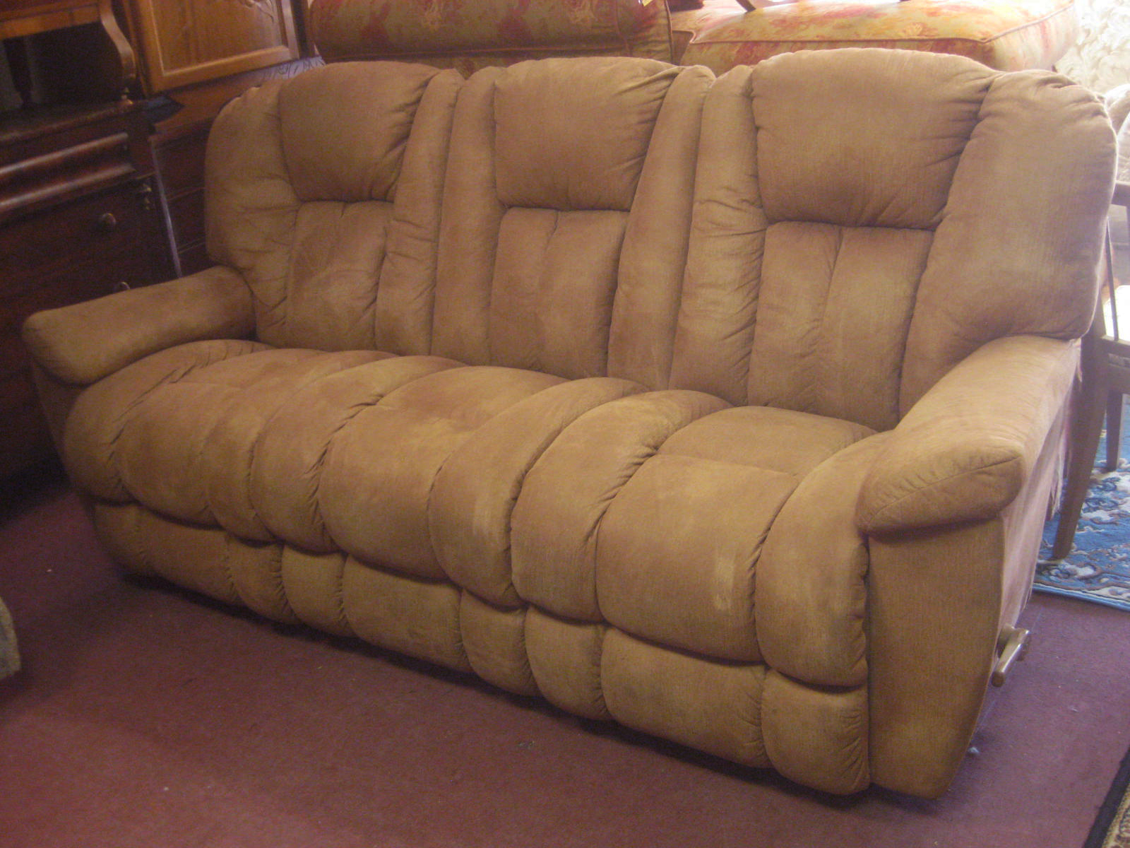 Uhuru furniture collectibles sold microsuede sofa for Sectional sofa with reclining ends
