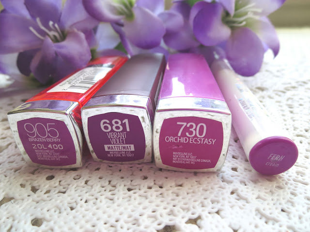 a picture of Maybelline Brazen Berry, Maybelline Creamy Matte Vibrant Violet, Maybelline Orchid Ecstasy, ColourPop Lippie Stix Fern
