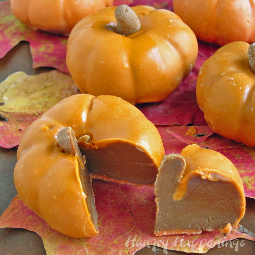 chocolate caramel filled pumpkins fall desserts
