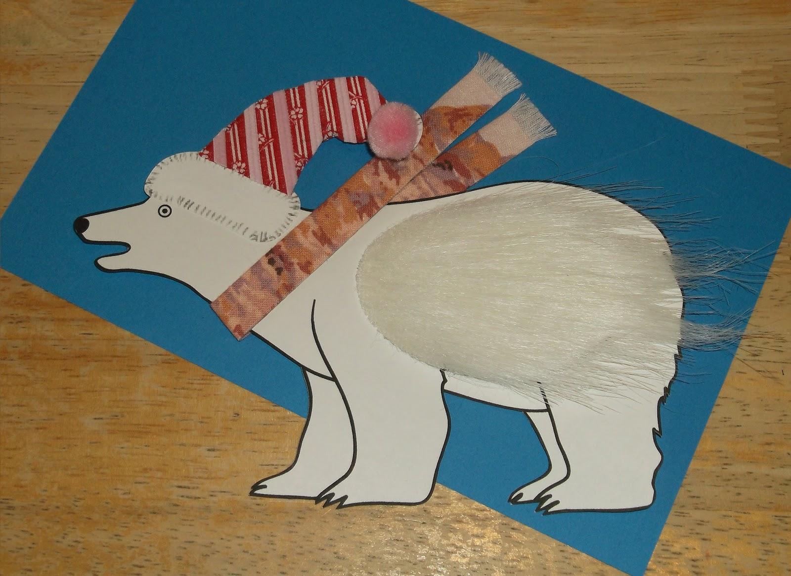 Polar Bear Craft Mount the polar bear on blue