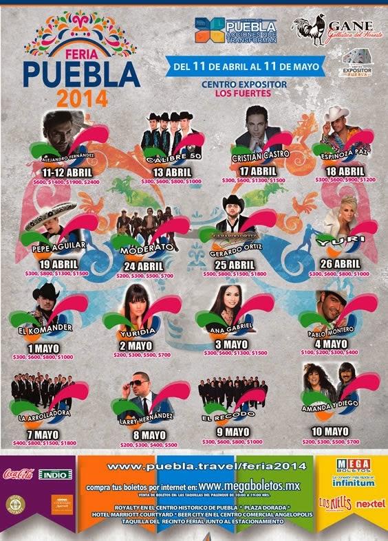 artistas palenque feria puebla 2014