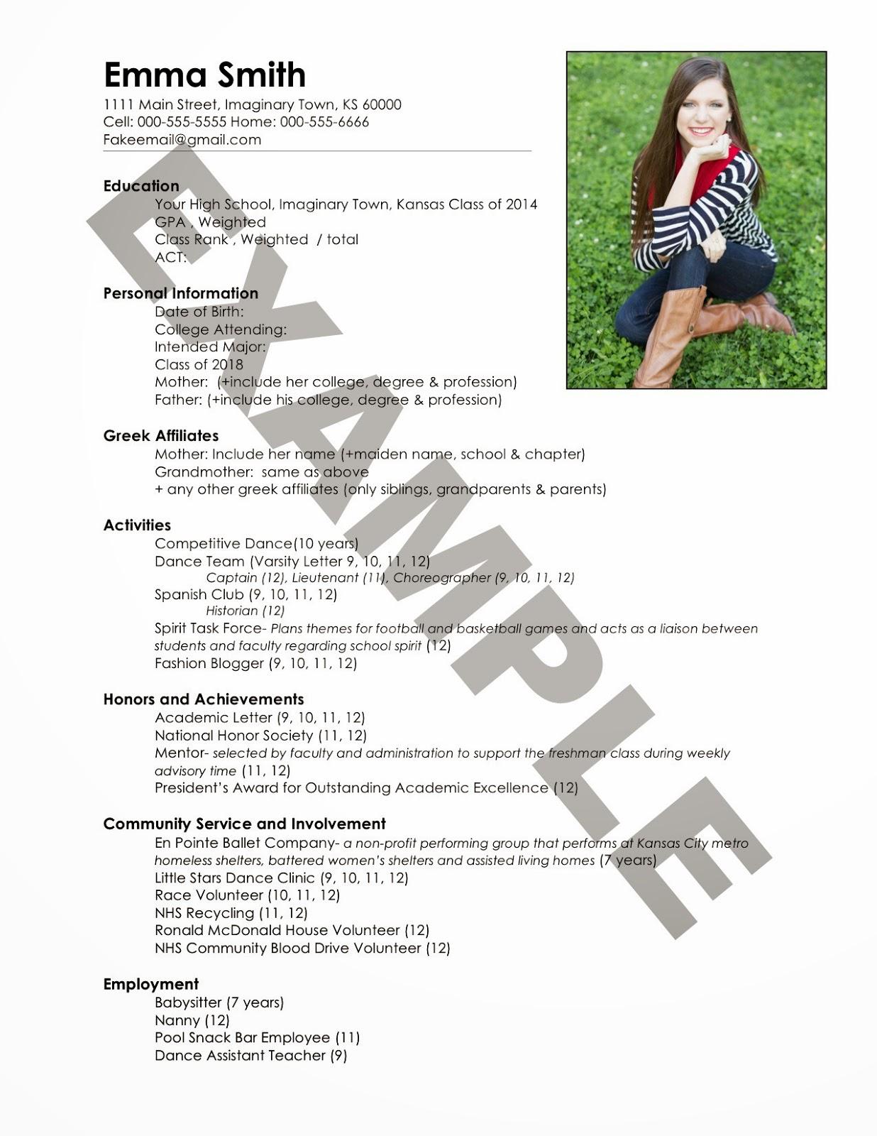Superb Fake+Sorority+Resume