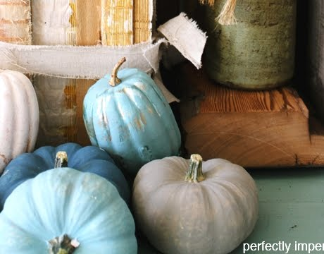 pumpkins painted with chalk paint