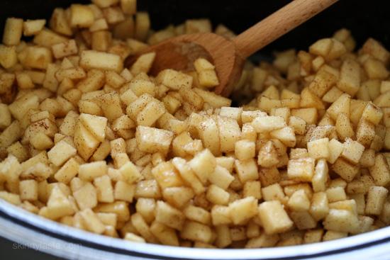 ... , stirring once halfway, until the apples are tender and dark brown