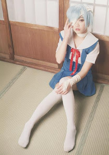Tomia Cosplay as Ayanami Rei (wearing Seifuku) from Evangelion