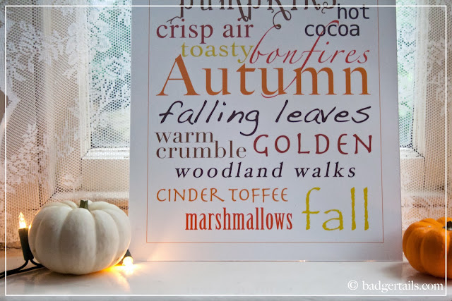 homemade decorative sign word posters autumn