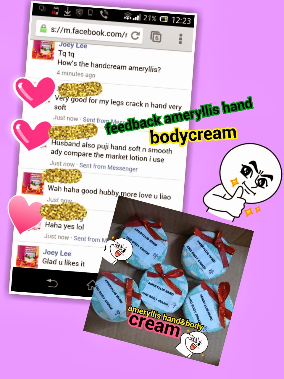 feedback customer ameryllis hand and body cream no more cracked heels and dry hand