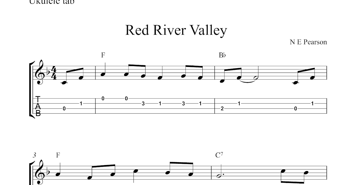 Free ukulele tab sheet music, Red River Valley