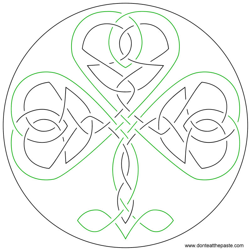 knotwork shamrock embroidery pattern