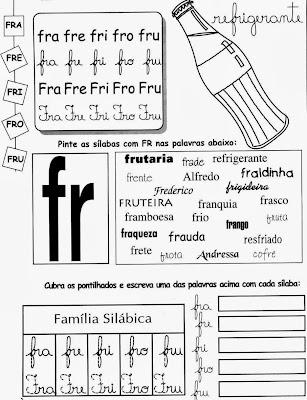 palavras com FR, Atividades com FR. anos iniciais,alfabetização, 1º ano, ensino fundamental,alfabeto, atividades para imprimir