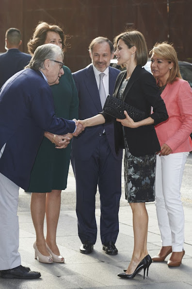 Queen Letizia of Spain attended a meeting with members of AECC (Spanish Association Against Cancer) at the Real Academia de Bellas Artes de San Fernando