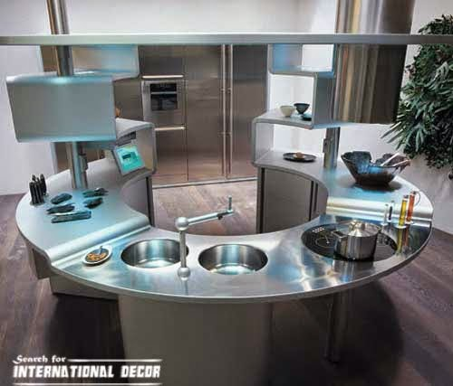 round kitchen in high-tech style