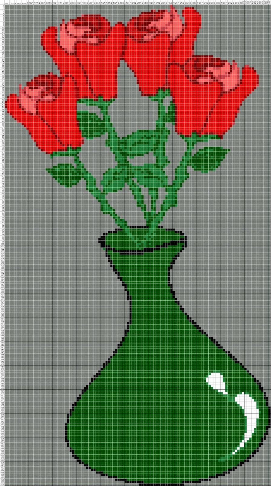Gambar Pola Kristik Bunga Mawar Merah Dalam Vas
