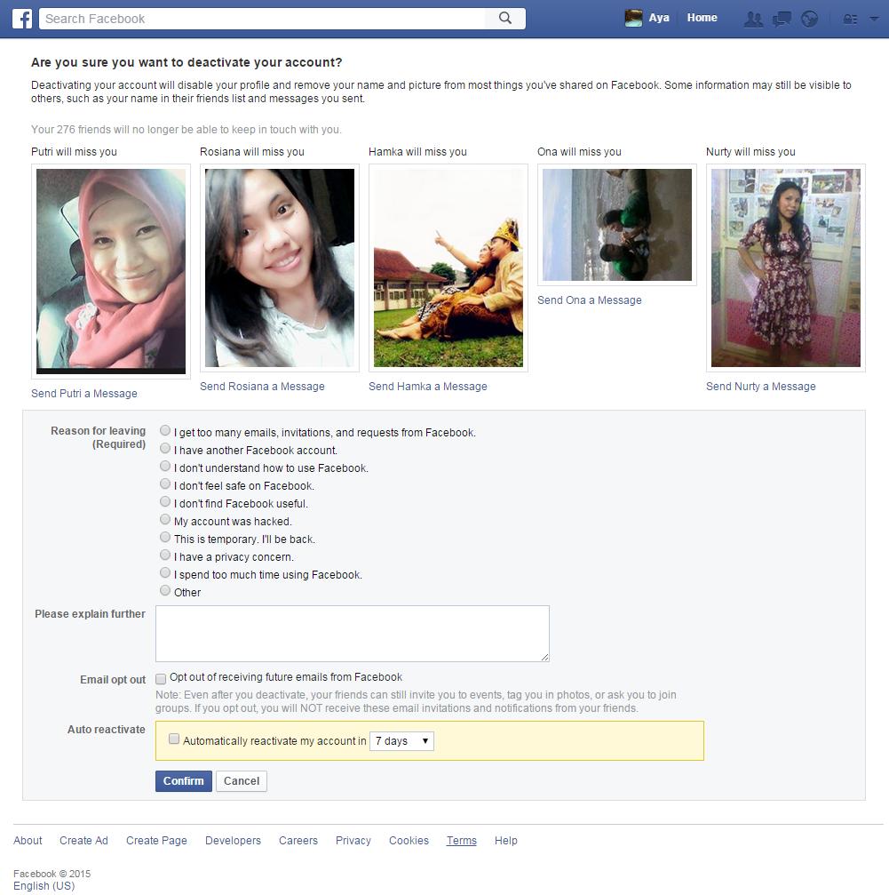 Menonaktifkan Sementara Akun Facebook dan Mengaktifkannya Kembali
