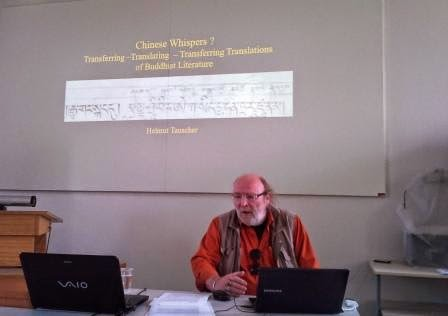 Prof. Helmut Tauscher during his presentation at the Buddhist Translation workshop.