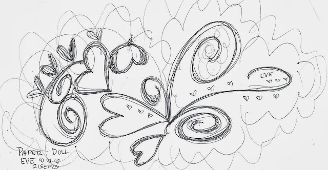 hearts and spirals doodle art, drawing by Paper Doll Eve