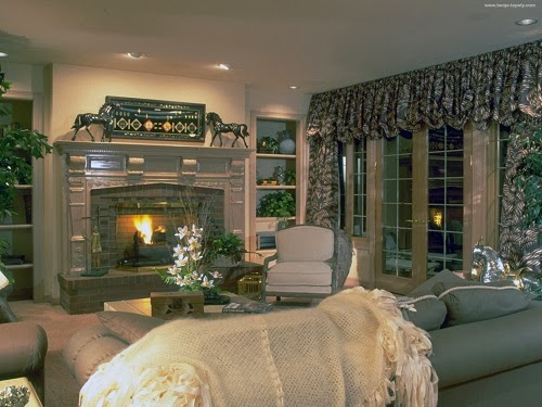 Country House With Grey Curtain And Cottage Living Room Ideas Country