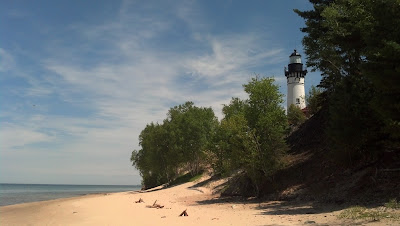 Au Sable Lighthouse, from the beach along Lake Superior. Not Pictured: The sandy hell that was the walk down.