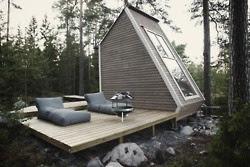 deck modern, Modern cabin, big window, modern simple living, cabin with a view