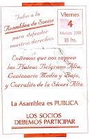 Panfleto contra el aumento de cuotas en River Plate y restricciones de las plateas