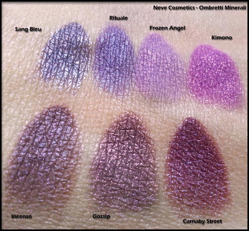 Neve Cosmetics - Ombretti Minerali - Swatch di Sang Bleu, Rituale, Frozen Angel, Kimono, Incenso, Gossip e Carnaby Street