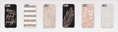 trendy rose gold phone cases including faux glitter, stripes and patterns.
