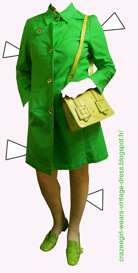 vintage geometric abstract print dress green blue loafers chunky heels 1960 1970 60s 70s coat canvas mod spring bag handbag