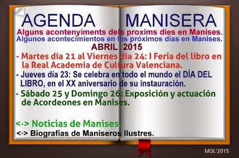 AGENDA MANISERA, SEMANA 17 DE 2015