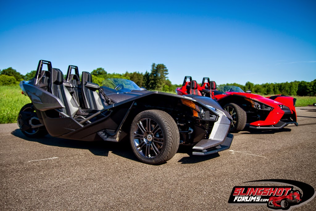 2015 Polaris Slingshot Polaris Slingshot (2015) New Three-Wheeler which shares similarities of Can-Am Spyder. Polaris' new 2015 Polaris Slingshot is powered by 173-Bhp 2.4-liter GM Ecotec engine. Polaris Slingshot has side-by-side seating arrangement. 2015 Polaris Slingshot is more of a car than a motorcycle.