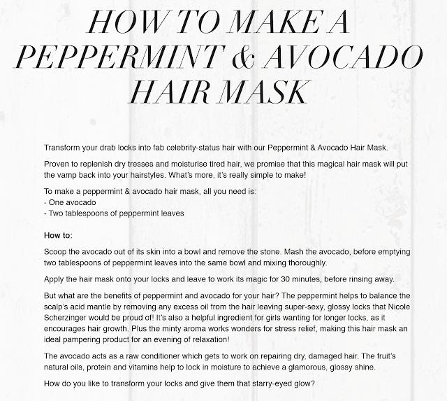 Homemade Avacado and Peppermint Tea Hair Mask