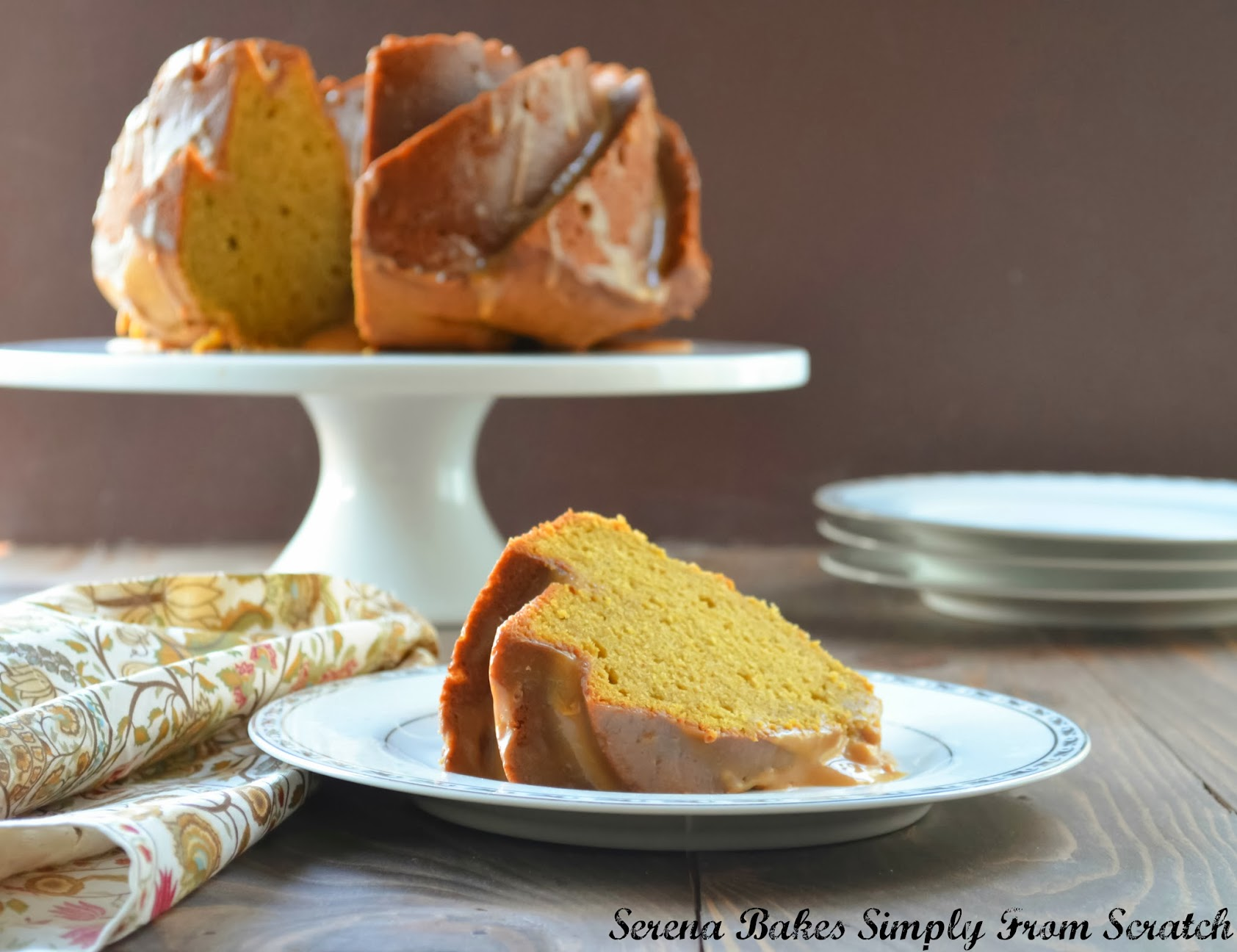 Pumpkin Spice Bundt Cake With Caramel Icing | Serena Bakes Simply From ...