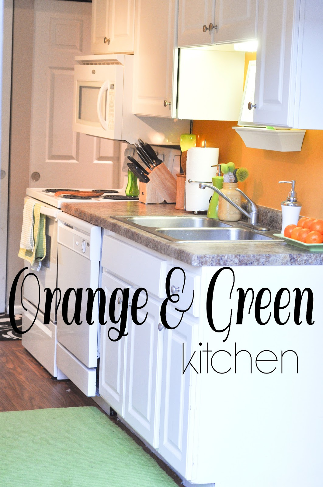 orange and green kitchen decor Decorating Through Dental School: My Chicago Home - Orange