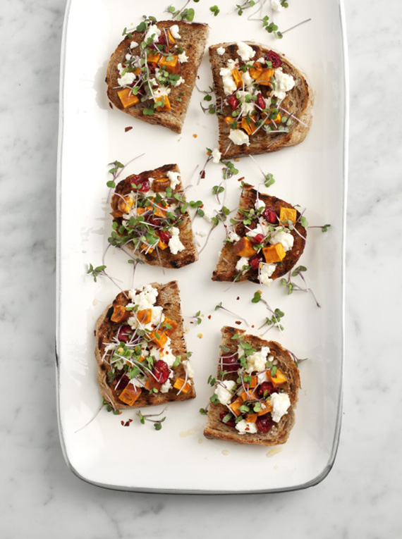 Sweet potato and feta crostini recipe by Love and Lemons