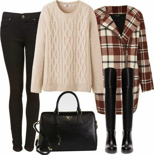 Awesome sweater, black pants, long jacket, black long boots and hand bag for fall
