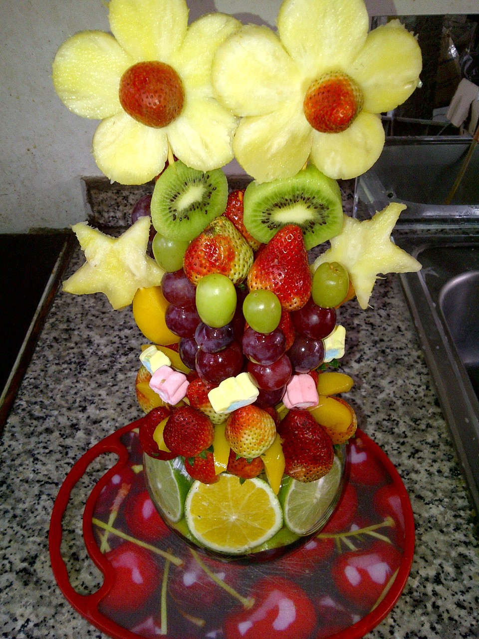 Arreglos de frutas para bautizo imagui for Centros de frutas