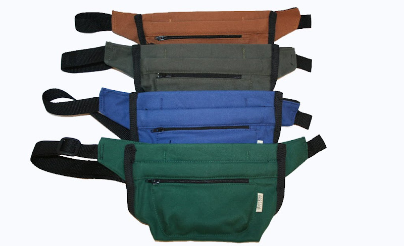 french hinged bait bags with black webbing, fabric colors are rust, army green, blue, and hunter green