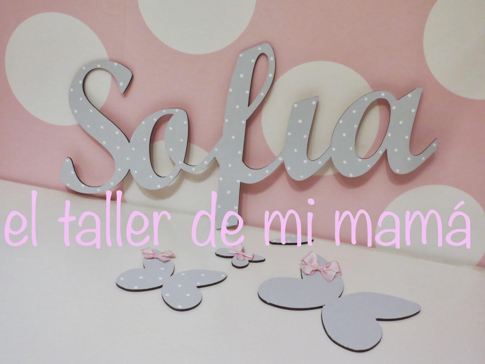 Nombre en madera el taller de mi mam ropa decoraci n - Letras para decorar habitacion infantil ...
