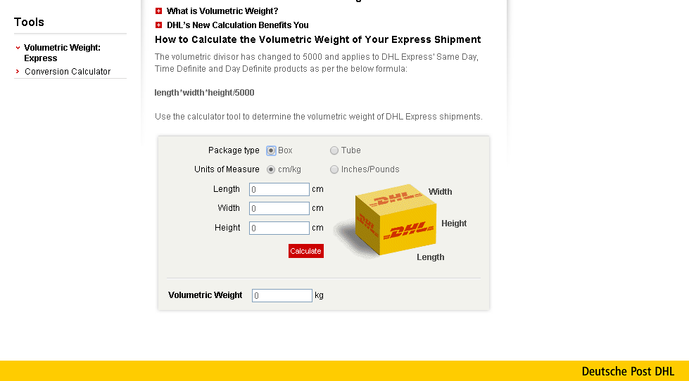 DHL Volumetric Weight Calculator