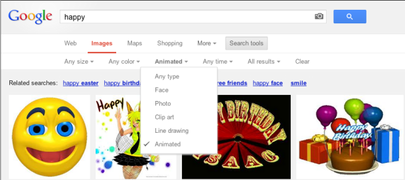 Animated GIF Images can be search in Google Images