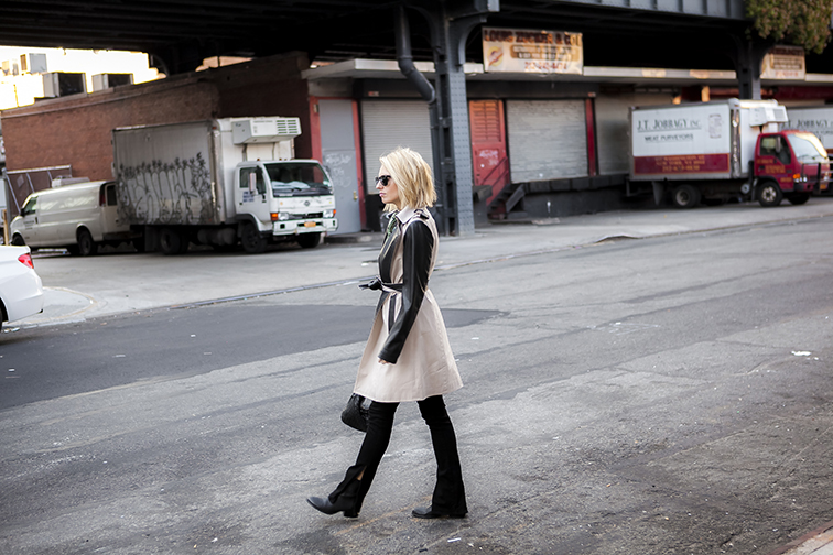 Fashion Over Reason wearing Ann Taylor leather trench, J Brand jeans, Alexander Wang Anouk boots, Bottega Veneta intrecciato crossbody bag, Ray-Ban Wayfers, in the Meatpacking District, NYC