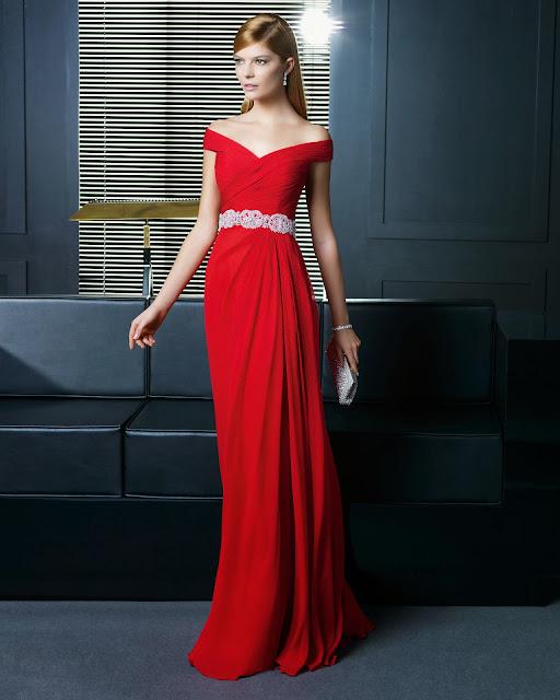 kırmızı geniş omuz abiye modeli uzun, parlak kemerli, bol kesim 2014