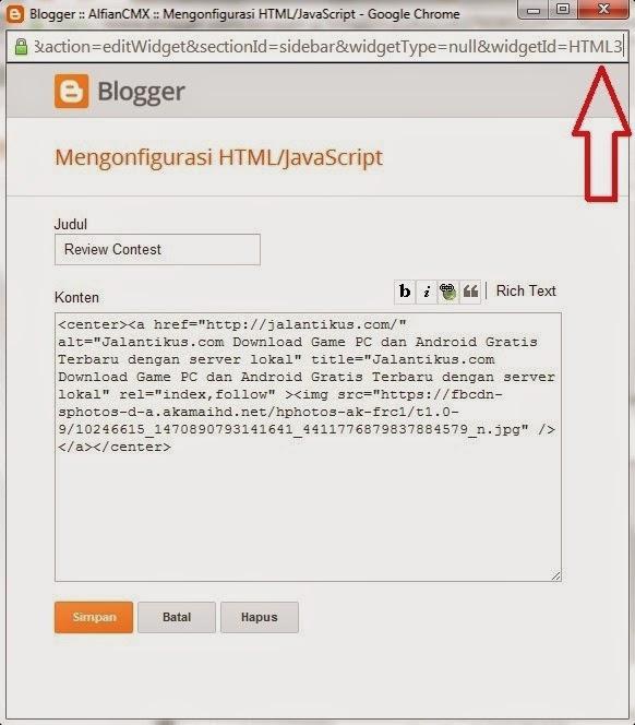 Cara Menampilkan Widget Pada Halaman Tertentu Diblog