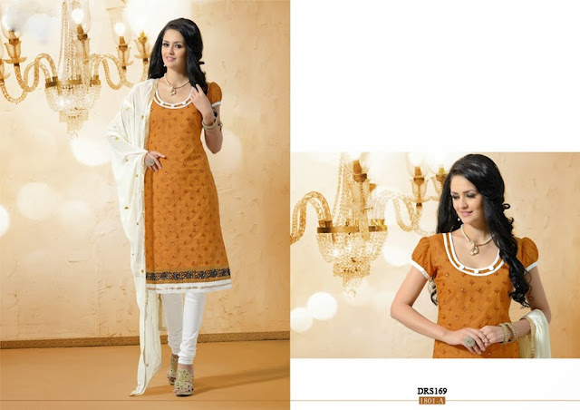 Buy Fashionable Embroidered Chanderi Cotton Dresses Material
