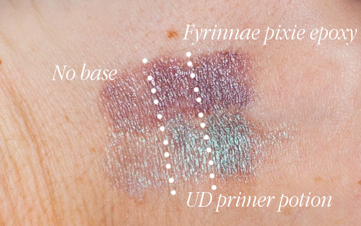 Urban Decay primer Potion versus Fyrinnae Pixie Epoxy for duochromes