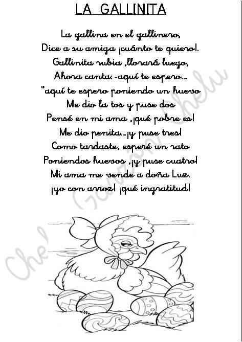 CHELUESPECIAL: FICHAS DE POESIAS INFANTILES PARA COLOREAR .EL ...
