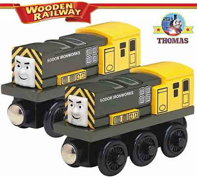 Thomas the tank engine toy wooden railway Iron Arry and Iron Bert twin engines at Sodor Ironworks